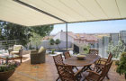 Image of pergolas fitted to provide residential patio area with shade and shelter.
