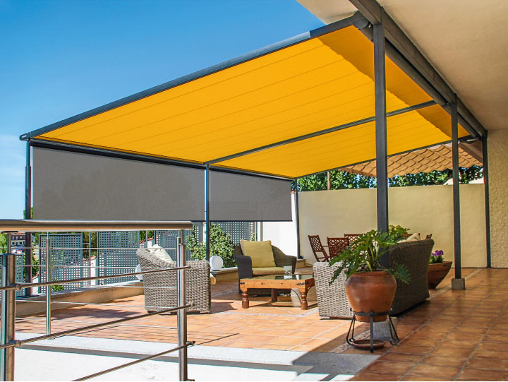 Image of 2-field motorised pergola covering residential patio area